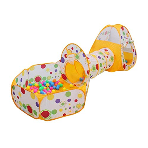 Iyom Tienda de Juegos para niños, túnel de Juegos Interior/Exterior y Tienda de Juegos Cubby-Tube-Teepee Casa de Juegos 3 en 1 para niños Juguetes para niños, cumpleaños (Color: Naranja)
