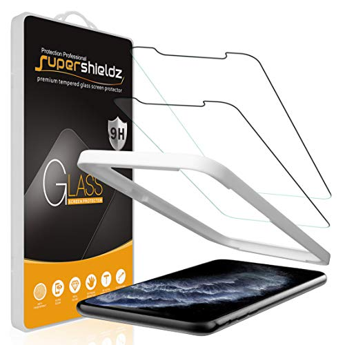 (2 Pack) Supershieldz Designed for Apple iPhone 11 Pro Max and iPhone Xs Max (6.5 inch) Tempered Glass Screen Protector with (Easy Installation Tray) Anti Scratch, Bubble Free