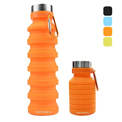 Nefeeko Collapsible Water Bottle, Reuseable BPA Free Silicone Foldable Water Bottles for Travel Gym Camping Hiking, Portable Leak Proof Sports Water Bottle with Carabiner, 18oz (Orange)