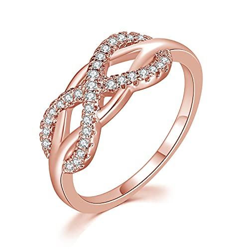 Taosheng Anillo de cristal de cobre, oro rosa, anillo infinito, joyería para mujer R407 (color de la piedra principal: R837, tamaño del anillo: 10)