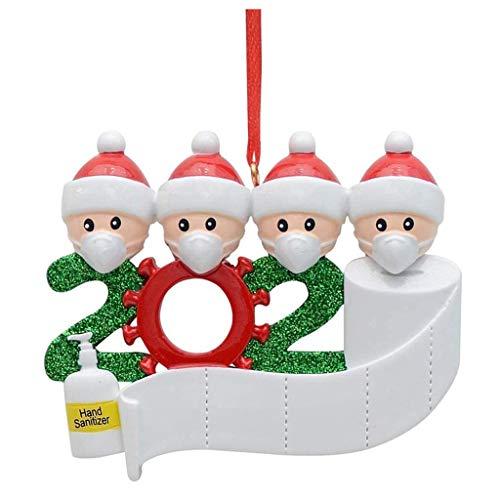 BAULMD 2 PCS 3D Weihnachtsschmuck Anhänger Wohnkultur, DIY personalisierte Name Feiertags Dekorationen, Weihnachten 2020 Dekorationen fur Weihnachtsbaum Spielerei Dekoration (4 Köpfe)