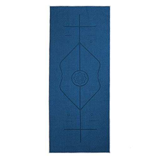 N / A Home Gym Yoga Mat Non-Slip Towel Fitness Mat Yoga Blanket Cushion Towel Yoga Towel with Position Line with Carrying Bag 185x63CM