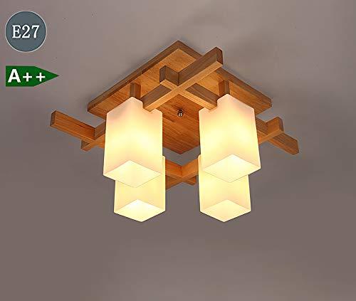 Moderne plafondlamp houten plafondlamp 4-pits glazen kap woonkamerlamp binnenverlichting slaapkamerlamp voor eetkamer keuken lamp hal deco plafondlamp kroonlamp E27 fitting
