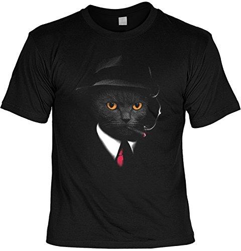 Cooles Katzen T-Shirt/Katzen Dedektiv Mafia Katze : Agent Cat - bedrucktes T-Shirt Katze Gr: L
