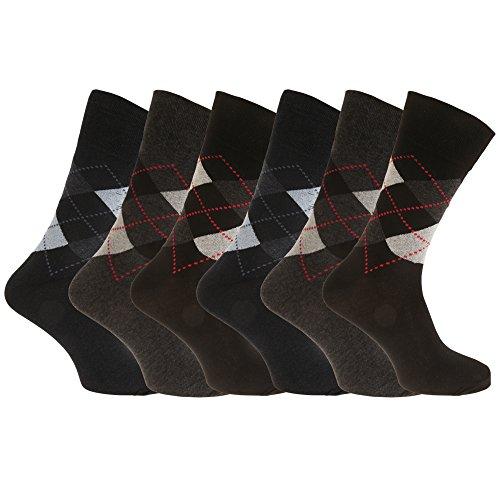 Aler Herren Argyle Socken, nicht elastisch (6 Paar) (6-11 UK/39-45 EU) (Schwarz/Grau/Blau)