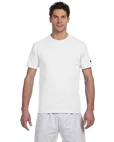 Champion Short Sleeve Tagless T-Shirt, White , Large