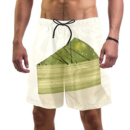 Lorvies Torte Cube im Matcha-Badehose für Männer, schnelltrocknend, L Gr. 50, mehrfarbig