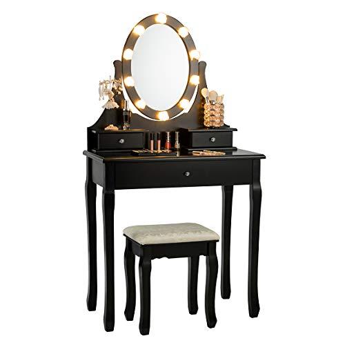 COSTWAY Schminktisch mit Hocker, Frisiertisch mit drehbarem Spiegel und LED Beleuchtung, Frisierkommode mit 3 Schubladen, Kosmetiktisch aus Tisch und Abnehmbarer Oberteil, 75 x 40 x 139cm, schwarz
