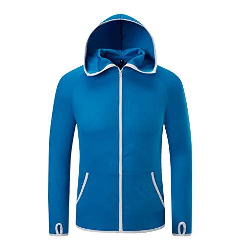 Deloito Herren Windbreaker Damen Draussen Regenjacke Schnelltrocknend Antifouling Eisseide Ultra dünn Angelanzug Sonnencreme Wasserdicht Mantel (Blau,Large)