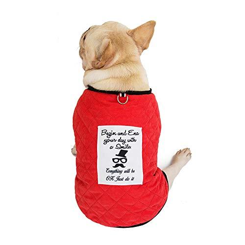 WANGSHI Bago French Bulldog Sweater Kleidung Fat Dog Sweater Medium Hund Baumwolle Mantel Weste Haustier Herbst Winter Verdicken Bull Plaid Baumwolljacke Scarlet XL-Büste 60 Rückenlänge 35