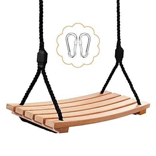 Arwinny Schaukeln für Erwachsene und Kinder, Gartenschaukeln, Holzschaukeln mit verstellbaren Seilen, Innen- und Außenschaukeln,schaukel Erwachsene 400kg (19 x 7.9 inch)