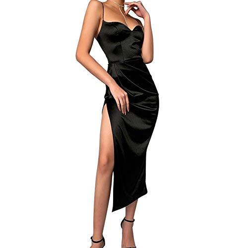 Vestido de noche de ceremonia para mujer, de verano, largo, cuello en V, sin mangas, con abertura lateral, vestido sexy y elegante, Negro , L