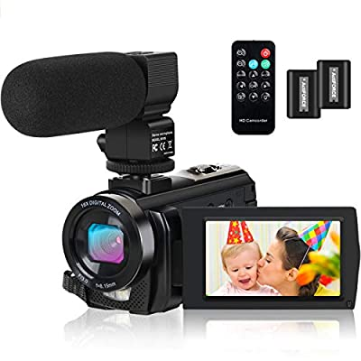 Video Camera Camcorder Digital YouTube Vlogging Camera Recorder FHD 1080P 24.0MP 3.0 Inch 270 Degree Rotation Screen 16X Digital Zoom with Microphone, Remote Controller 2 Batteries from Actitop