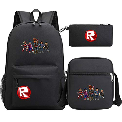 Roblox Teenager Sylish Backpack Sets Boys Girls Large Capacity School Bag Boys Girls Durable Shoulder Bag and Cute Pencil Case Children Casual Durable Daypack Sets 3 Pieces