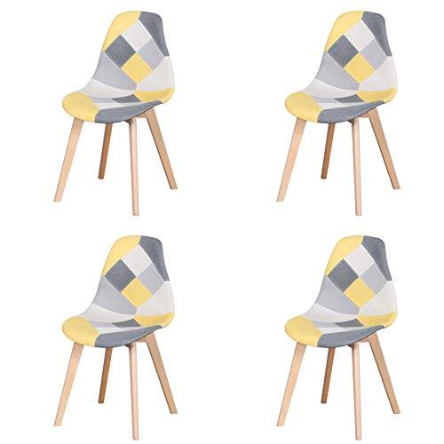 Esszimmerstühle 4er Set,Patchwork 4 Stuhle Set Holzbein Esszimmerstuhl für Küche, Wohnzimmer, Esszimmer Restaurant (Gelb-4 Stuhle)