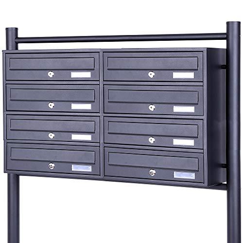 Rapid Teck® 8er Briefkastenanlage Standbriefkasten Anthrazit 2x 4 Fächer Briefkasten Postfach Dunkel Grau  Doppel Postkasten Mehrfamilienhaus