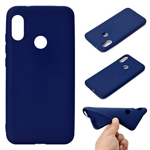 Everainy Funda Compatible para Xiaomi Redmi 6 Pro Xiaomi Mi A2 Lite Silicona TPU Gel Slim Color sólido Dibujos Carcase Cover Bumper Ultrafina Goma Case Caucho Antigolpes (Azul)
