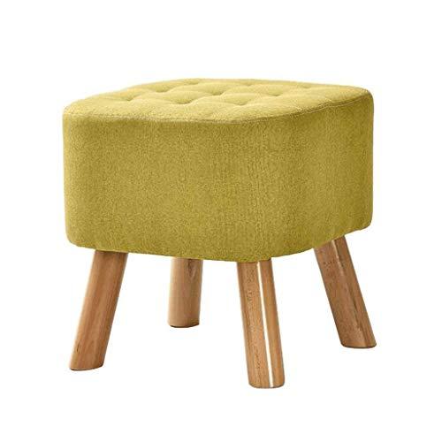 SXY Moderner großer quadratischer Schemel-Stuhl-Feste Holz-Schemel 4 Fuß und Leinenabdeckung (grün) Größe: 40 * 40 cm