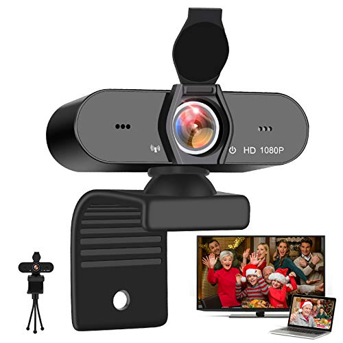 Adhope Webcam 1080p Full HD with Stereo Microphone for Laptop/PC, USB 2.0 Plug and Play Web Camera for Live Streaming and Video Chat, Recording, Compatible with Windows, Mac and Android