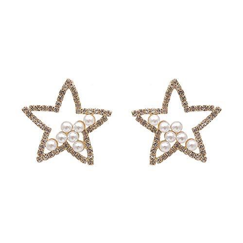 Yosemite Schneeflocke Sternform Frauen Ohrringe Faux Pearl Strass Baumeln Ohr Ohrstecker Ohrringe Schmuck Geschenk Hohlstern