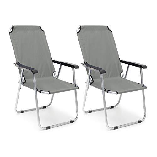 Relaxdays Campingstuhl 2er Set, Faltbare Balkonstühle mit Armlehnen, Garten Hochlehner, HBT 91 x 53,5 x 75 cm, anthrazit