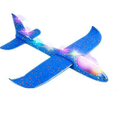 Sage Square Large Hand Throwing LED Foam Plane, Dual Flight Mode, Aeroplane Gliders, Flying Aircraft, Gifts for Kids, Outdoor Sport Game Toys, Birthday Party Gifts (Random Color)
