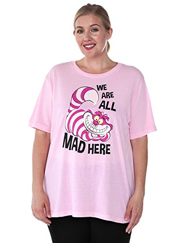 Disney Womens Plus Size T-Shirt Alice in Wonderland Cheshire Cat (ICY Pink, 2X)