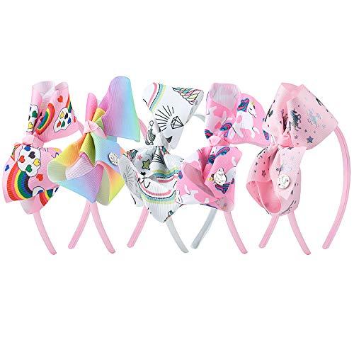 MOOKLIN ROAM 5 Pezzi Cerchietti Unicorno Fasce per capelli Bambina Ragazza Cerchietto Multicolore Fiocco Coperte da Nastro Tessuto Hairbands feste Accessorio (5 Colori)