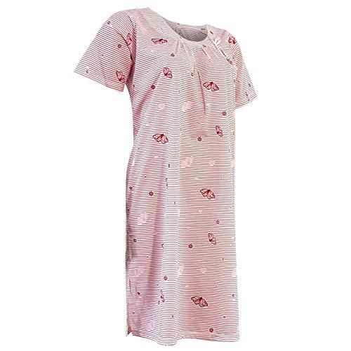 Lavazio Damen Nachthemd Kurzarm gestreift Knielang mit Motiv Schmetterling 4 Farben - Qualität, Größe:XL, Farbe:rot