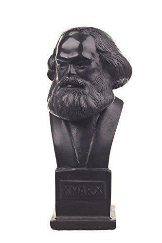 Deutscher Philosoph Sozialist Karl Marx Stein Büste Statue Skulptur 12,5 cm schwarz