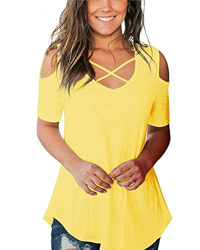 Cold Shoulder Tops Short Sleeve T Shirts V Neck Blouse Casual Criss Cross Tunic Yellow S
