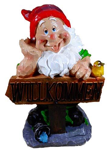 N / A Gartenzwerg Willkommen 30 x 20 cm Zwerg Garten Schild Vogel Deko E55