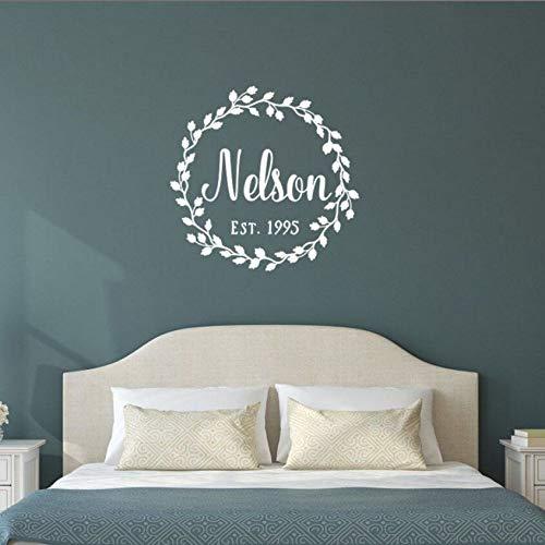 JXFFF Muurstickers, motief slinger, decoratie voor thuis, personaliseerbaar, datum, huwelijkscadeau, 58 x 57 cm