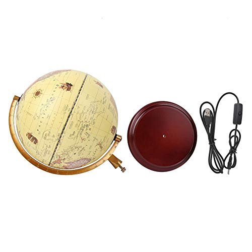 Cocosity World Style Globe, Educational Toy 25CM 3D Globe, Antique Retro Globe Vintage Office for School(25cm antique with light)