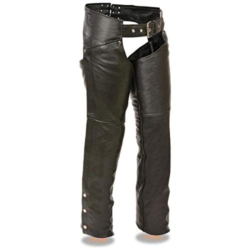 Milwaukee Leather SH1173 Women's Black Classic Hip Pocket Leather Chaps - Small