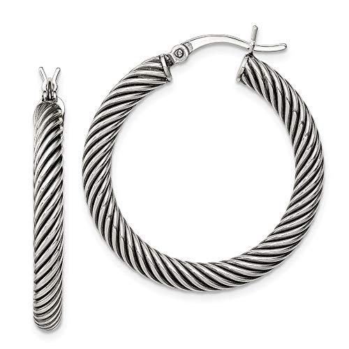 925 Sterling Silver 3.25x30mm Twist Hoop Earrings Ear Hoops Set Fine Jewelry For Women Gifts For Her (10k Rope Earrings)
