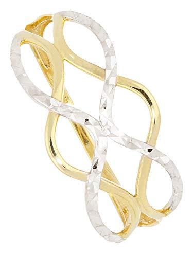 Ring Weißgold Gelbgold 333 Gold (8 Karat) Bicolor Ohne Steine Gr. 56 Damenring Goldring Emeni R-07931-G362-W56