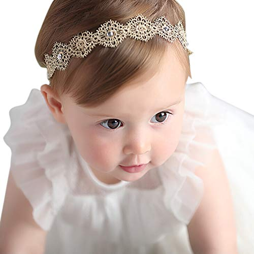 Honbay Lace Flower Elastic Headband with Crystal for Baby Girls