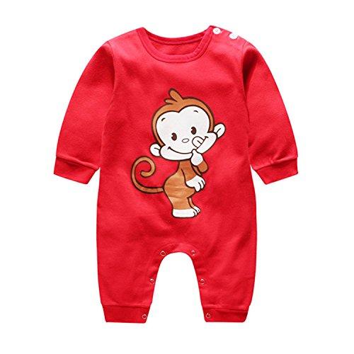 Infant Natale Pigiama Costume Babbo Natale manica lunga Pagliaccetto Tutine Neonato Completini e coordinati (Scimmia rossa, 0-3 Mesi)