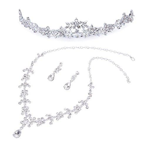LUOEM Hochzeit Braut Krone Halskette Ohrringe Set
