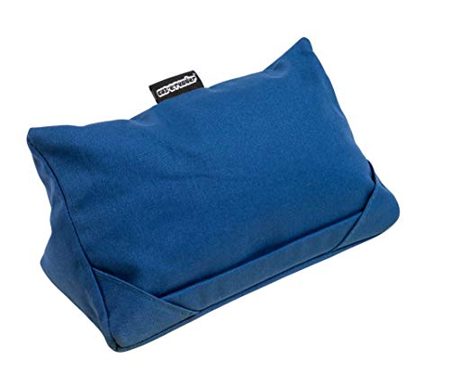 i-Pad Cushion,Tablet Pillow,stand,Holder,Rest in Denim Blue fabric,3 positions for viewing