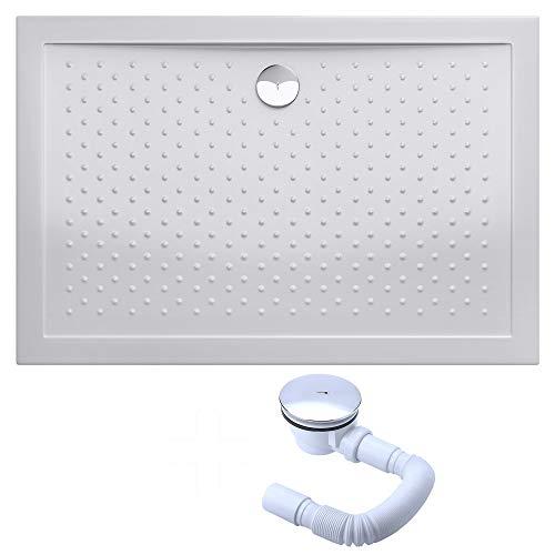 doporro Duschtasse Duschwanne Lucia04 90x100x4 flach inkl. Ablaufgarnitur aus Acryl Weiß mit Anti-Rutsch Profil und DIN-Anschlüssen auch für bodenebene Montage geeignet