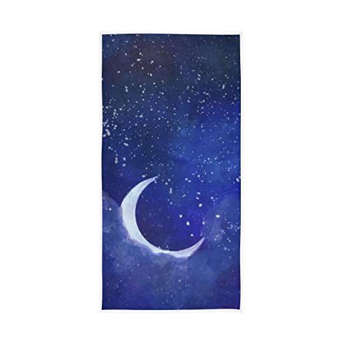 S Husky Starry Sky Moon Hand Bath Towel Watercolor Painting Quick-Dry Highly Absorbent Soft Face Towel for Bathroom Kitchen Gym Yoga 30 x 15 inches 2040510
