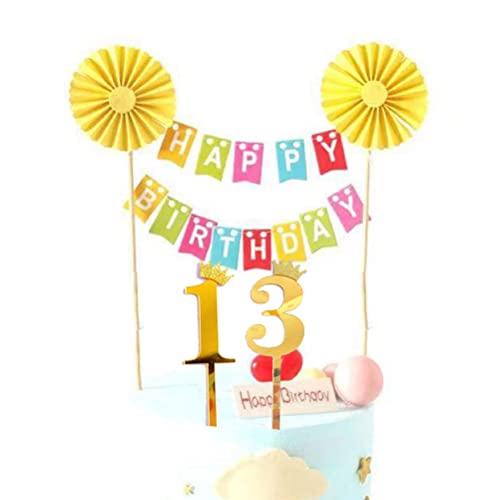 MiaLover Decoración para tarta de cumpleaños número 13 con texto en inglés 'Happy Birthday', decoración para tartas, guirnalda de banderines para 13 años, decoración para tartas, para niños y niñas