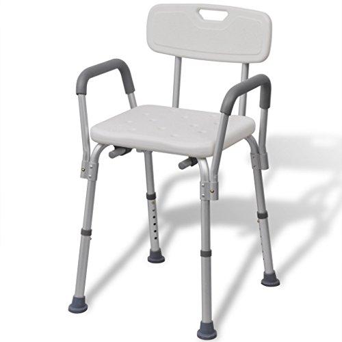Anself Aluminium Duschstuhl Badestuhl mit Arm- und Rückenlehne Höhenverstellbar Weiß 100 KG