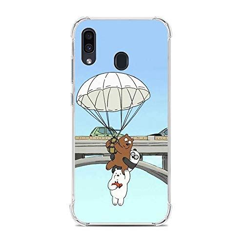 Clear Soft Silicone TPU Liquid Case for Samsung Galaxy A30, We Bare-Bear Animated 10