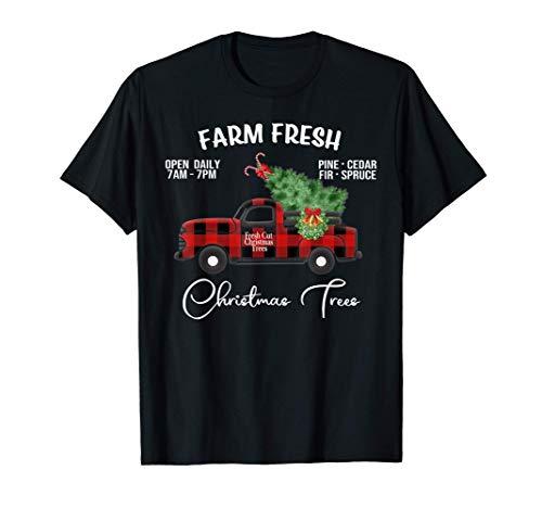 Buffalo Plaid Farm Red Truck with Christmas Tree Gift T-Shirt