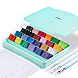 MIYA Gouache Paint Set, 24 Colors x 30ml Unique Jelly Cup Design with 3 Paint Brushes and a Palette in a Carrying Case Perfect for Artists, Students, Gouache Opaque Watercolor Painting (Green)