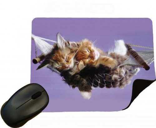 Cat 03- Tabby en Ginger Kittens slapen in mini hangmat muismat/pad - door Eclipse Gift Ideas