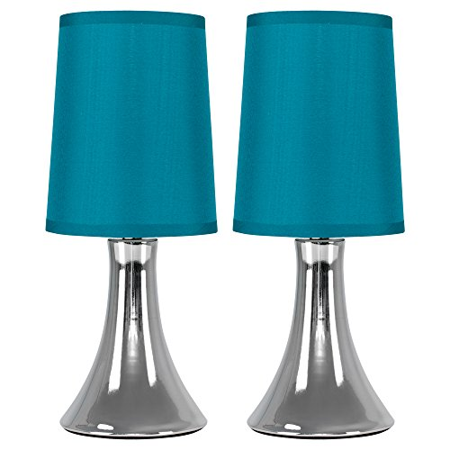 Pair of - Small Modern Chrome Trumpet Touch Table Lamps with Blue Fabric Shades